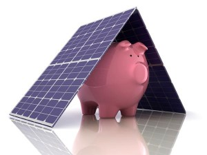 solar panels over a piggy bank indicate the savings possible with installing a solar electric system with Mendocino Solar Service