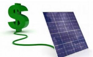 a dollar sign connected to a solar panel indicates the savings possible with installing a solar electric system with Mendocino Solar Service