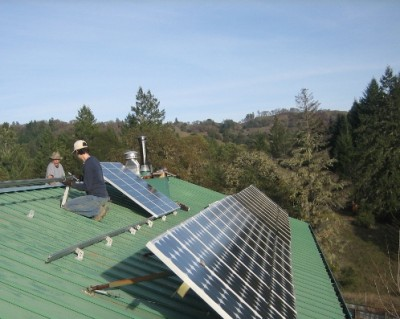 Solar panels installed on a roof by Mendocino Solar Service