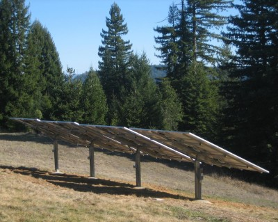 solar panels mounted on the ground installed by Mendocino Solar Service in Mendocino County, California.